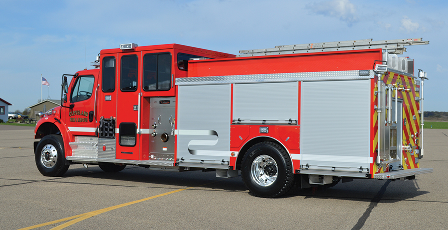 3Cleveland's pumper is powered by a Cummins 350-horsepower ISL9 engine and an Allison 3000 EVS automatic transmission.