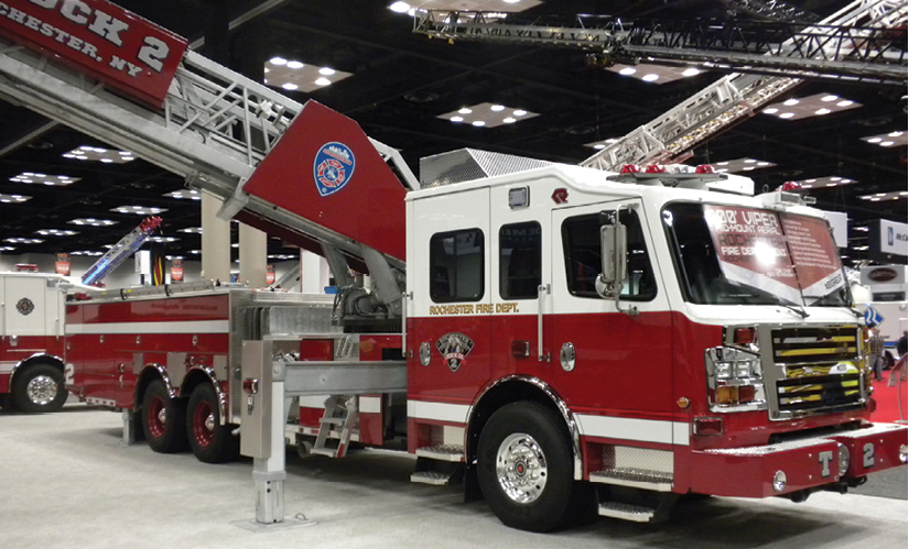 1One of a pair of Rosenbauer 100-foot Viper midmount aerial ladders that Empire delivered to the Rochester (NY) Fire Department in 2017. (Photo by author.)