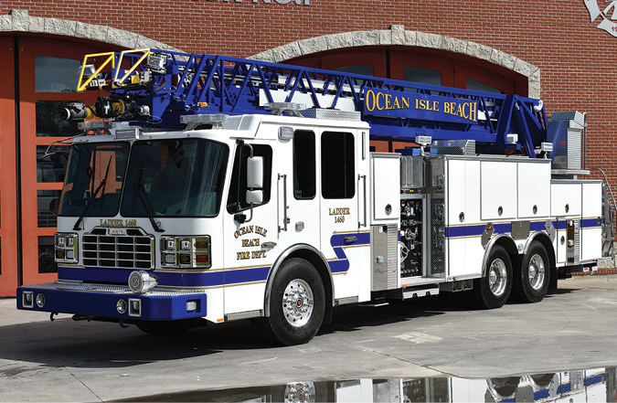 Featured Delivery of the Month: Ferrara—Ocean Isle Beach (NC) Fire Department HD-107 aerial ladder quint. Inferno cab and chassis; Cummins ISX15 600-hp engine; Hale Qmax 2,000-gpm pump; 500-gallon polypropylene tank; four-section rear-mount 107-foot aerial ladder; Harrison 6-kW generator. Dealer: Tripp Crosby, C&C Fire Apparatus, Concord, NC.