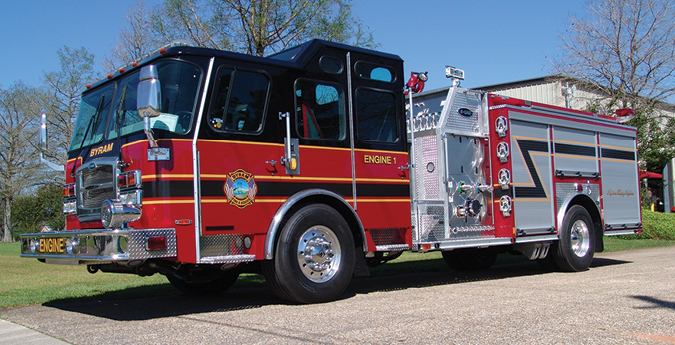 E-ONE—Byram (MS) Fire Department pumper. Typhoon X cab and chassis; Cummins L9 330-hp engine; Hale Qmax 1,500-gpm pump; UPF Poly 780-gallon tank; 30-gallon foam cell; FoamPro 1600 single-agent foam system and Waterous 80-P PTO compressed-air foam system. Dealer: Curtis Gho, Sunbelt Fire, Fairhope, AL.