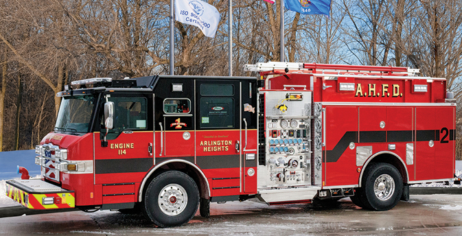 Pierce—Arlington Heights (IL) Fire Department pumper. Velocity cab and chassis; Detroit DD13 470-hp engine; Waterous CSU 2,000-gpm pump; UPF Poly 750-gallon tank; two 30-gallon foam cells; Pierce Husky 12 Class A and B foam system; Harrison 6-kW generator. Dealer: Rick Berndt, Global Emergency Products, Aurora, IL.