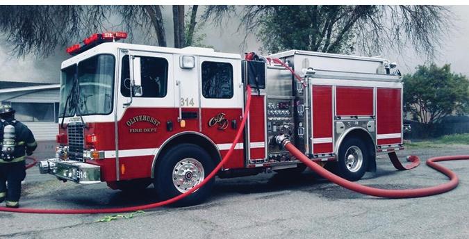 HME—Olivehurst (CA) Public Utility District Ahrens-Fox model 18B pumper. HME 1871 SFO cab and chassis; Cummins 6.7-liter 240-hp engine; Hale Qflo 1,250-gpm pump; UPF Poly 850-gallon tank; Hale FoamLogix 2.1 Class A foam system; full transverse heavy-duty compartment. Dealer: Casey Scott, Derotic Emergency Equipment, El Dorado Hills, CA.