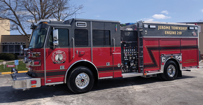 Sutphen—Jerome Township Fire Department, Plain City, OH, pumper. Monarch cab and chassis; Cummins ISL 450-hp engine; Hale Qmax 1,500-gpm pump; Pro Poly 1,000-gallon polypropylene tank; 20-gallon foam cell; Hale Smart Foam foam system; Command Light Knight LED light tower; Smart Power 10-kW generator; Whelen LED scene lights; FRC 360 camera. Dealer: Andy Herb, Herb Fire Equipment, Powell, OH.