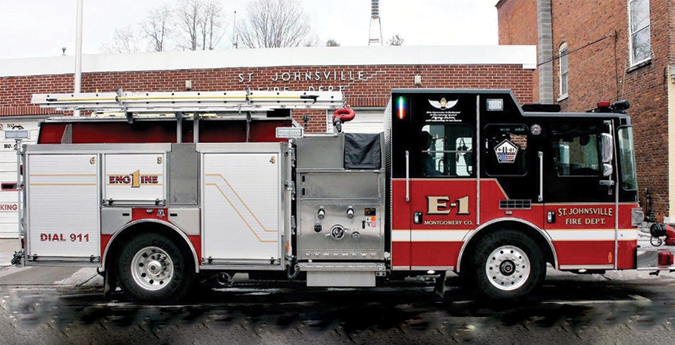 HME—St. Johnsville (NY) Fire Department Ahrens-Fox rescue-pumper. HME 1871 Spectr cab and chassis; Cummins ISL9 450-hp engine; Hale Qmax 1,500-gpm pump; UPF Poly 900-gallon tank; 30-gallon foam cell; Hale FoamLogix 2.1A single-agent foam system; Ziamatic single pivot ladder storage system. Dealer: Mark Aswad, Firehouse Apparatus Inc., Locke, NY.