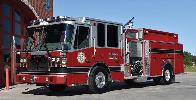 Ferrara—Hattiesburg (LA) Fire Department pumper. Cinder cab and chassis; Cummins ISL9 450-hp engine; Hale Qmax 1,500-gpm pump; 1,000-gallon polypropylene tank; extruded aluminum body; rescue-style compartments; Akron Apollo deck gun. Dealer: Mark Flowers, Ferrara Fire Apparatus, Holden, LA.