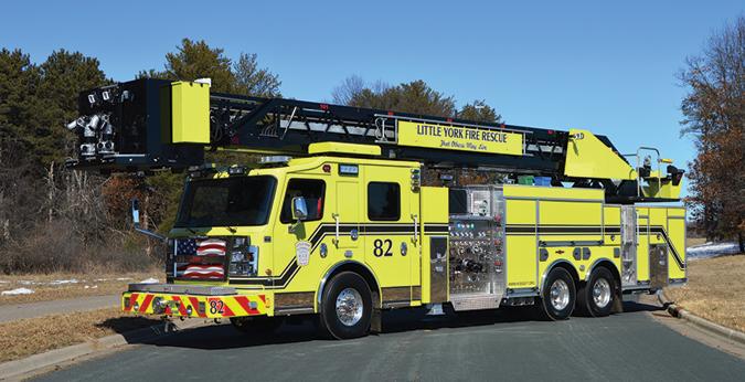 Rosenbauer—Little York Fire Rescue, Harris County, TX, Cobra 101-foot rear-mount aerial platform quint. Commander cab and chassis; Cummins X15 565-hp engine; Hale Qmax 2,000-gpm pump; 500-gallon polypropylene tank; extruded aluminum EXT body with lifetime warranty; Rosenbauer EZ load drop-down hosebed; Smart Power 6-kW generator. Dealer: DACO Fire Equipment, Lubbock, TX.