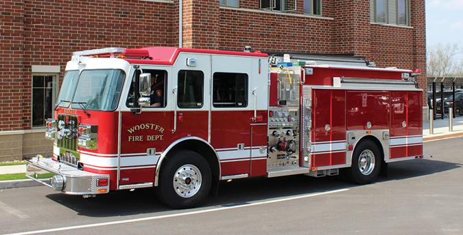 Sutphen—Wooster (OH) Fire Department custom pumper. Monarch cab and chassis; Cummins ISL9 450-hp engine; Hale Qmax 1,500-gpm pump; Pro Poly 750-gallon polypropylene tank; 20-gallon foam cell; Hale Smart Foam 5.0 single-agent foam system; Zico hydraulic ladder rack; Akron Brass Deckmaster electric deck gun. Dealer: Bob Jones, Herb Fire Equipment, Powell, OH.
