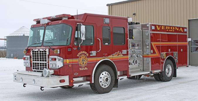 Toyne—Borough of Verona, PA, pumper. Spartan Metro Star cab and chassis; Cummins ISL 450-hp engine; Hale Qmax 1,500-gpm pump; UPF Poly, 750-gallon tank; Harrison 10-kW generator. Dealer: Tri State Fire, Monogahela, PA.