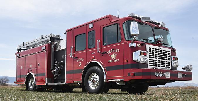 SVI—Greeley (CO) Fire Department pumper. Spartan Gladiator cab and chassis; Cummins X15 565-hp engine; Waterous CSU 1,500-gpm pump; UPF Poly 500-gallon tank; Harrison 15-kW HydraGen generator; Ziamatic LadderLift. Dealer: Bob Sorenson, SVI, Fort Collins, CO.