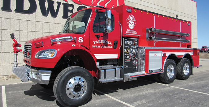 Midwest Fire—Parshall (ND) Volunteer Fire Department pumper-tanker. Freightliner M2 cab and chassis; Cummins L9 350-hp engine; APR 3,000-gallon polypropylene tank; Darley LSP 1,000-gpm pump; three Newton 10-inch stainless steel dump valves with chutes; Zico electric portable tank carrier; All-Poly™ construction; Elkhart Sidewinder electric monitor. Dealer: Brett Jensen, Midwest Fire, Luverne, MN.