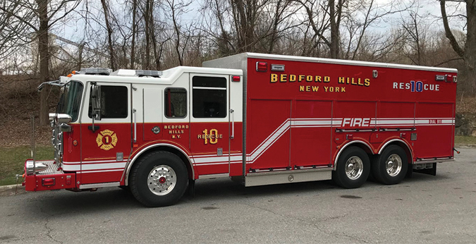 Seagrave—Bedford Hills (NY) Fire District walk-in rescue. Marauder stainless steel tilt cab and chassis; Cummins ISX12 500-hp engine; 22.75-foot rescue body; Harrison 20-kW generator. Dealer: Santo Curro, Hudson Valley Fire Equipment, Brewster, NY.