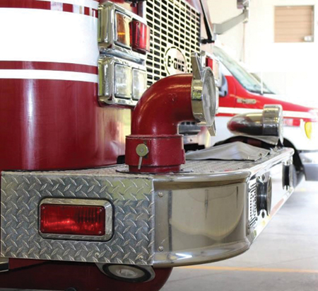 11 A front intake provides options for nosing into a hydrant or setting up dump tanks while leaving an open lane of traffic for tankers. The valve for this intake is located in the plumbing and is air operated.