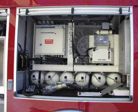 This Bauer Compressors Inc. breathing air system includes a cascade system, air management, and fill station.