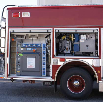 This fire vehicle has a complete breathing air system onboard, including a Bauer compressor.