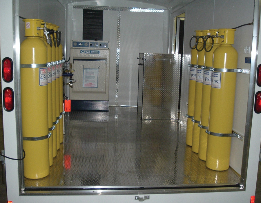 3 This system built by Breathing Air Systems includes eight cascade cylinders, a compressor, and a fill station. (Photos 3 and 4 courtesy of Breathing Air Systems.)