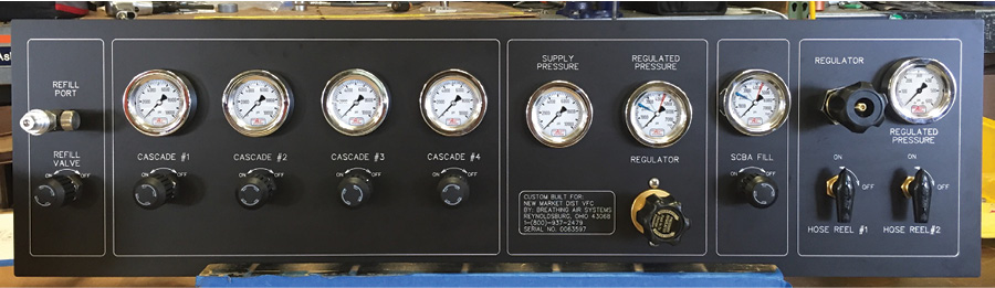 3 This system built by Breathing Air Systems includes eight cascade cylinders, a compressor, and a fill station. (Photos 3 and 4 courtesy of Breathing Air Systems.) 4 The cascade system control panel on a Breathing Air Systems installation.