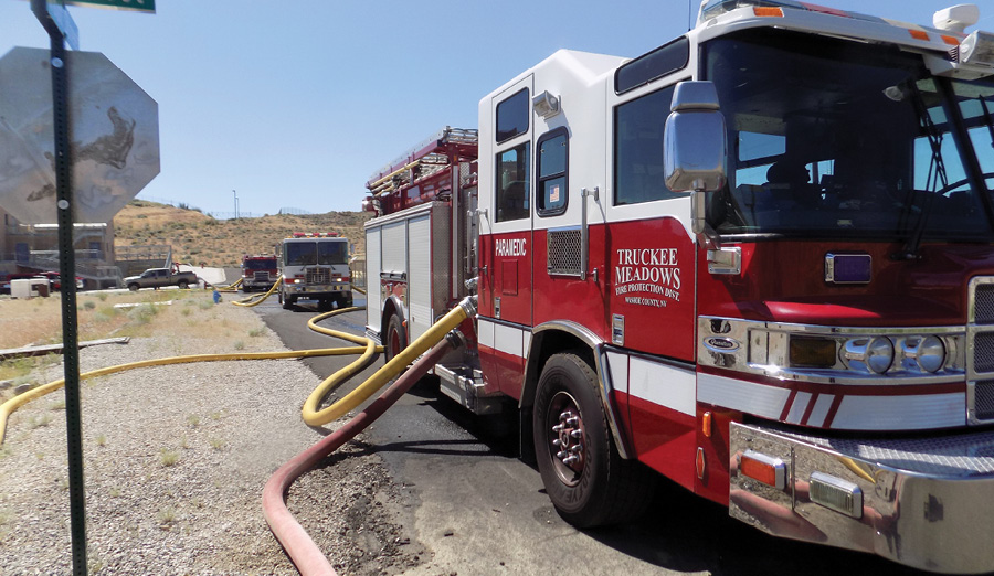 This was initially a two-pumper operation to move the required water but the rpm was too high. Three engines put in tandem relieve the work of the pumpers involved in the operation by adding the third engine just to help the workload of the initial two that were used. Of course, if another hydrant was available, this engine could have pumped from there and accomplished the same thing