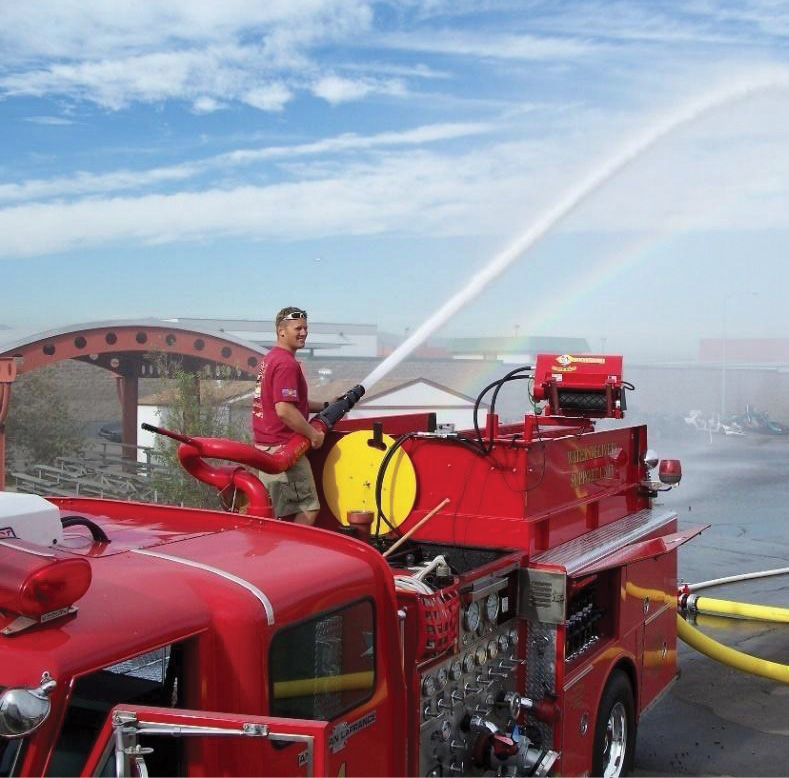 This four-inch gun is flowing 2,500 gpm from a 1,250-gpm pump supported by six-inch hose, one relay, and its own hydrant.
