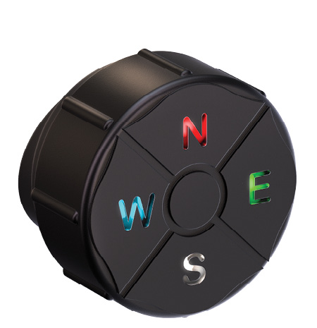 The Northern Star 8-Directional Electronic Compass and Guidance System has four colored LED lights.