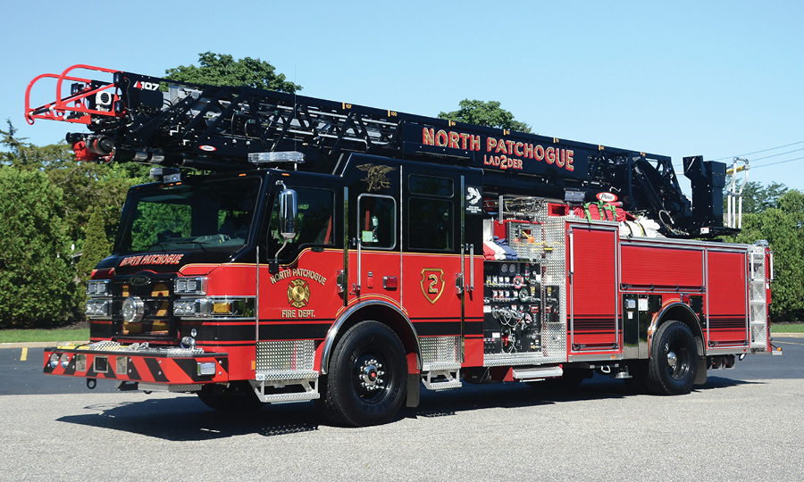 The North Patchogue (NY) Fire Department's 2018 107-foot Pierce Ascendant quint built on a Velocity cab and chassis. (Photos by author.)