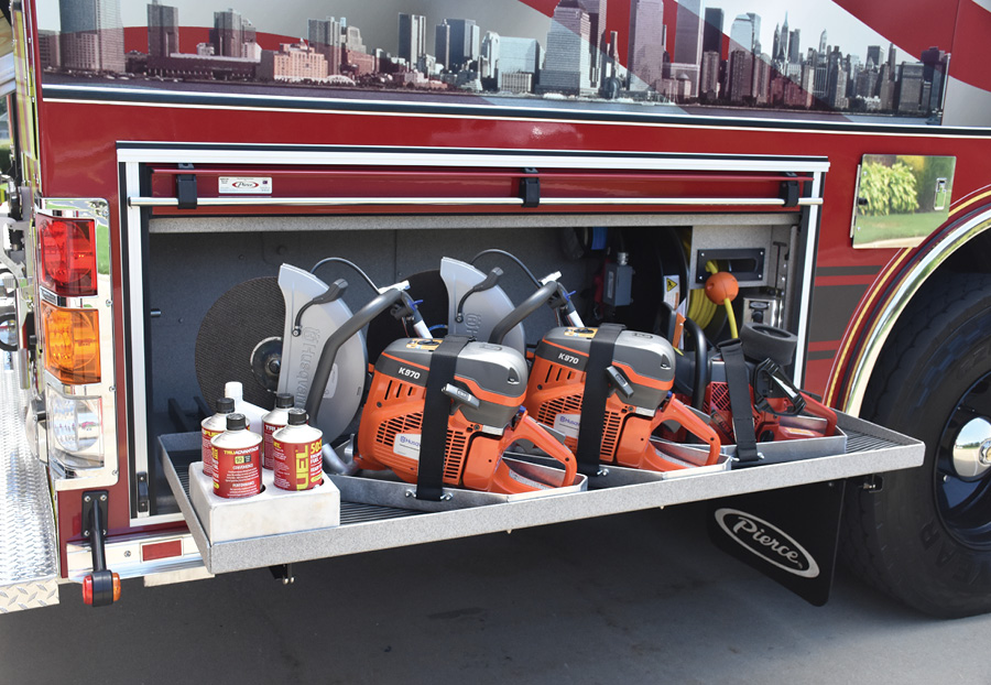The truck carries a full complement of rotary saws and blades.