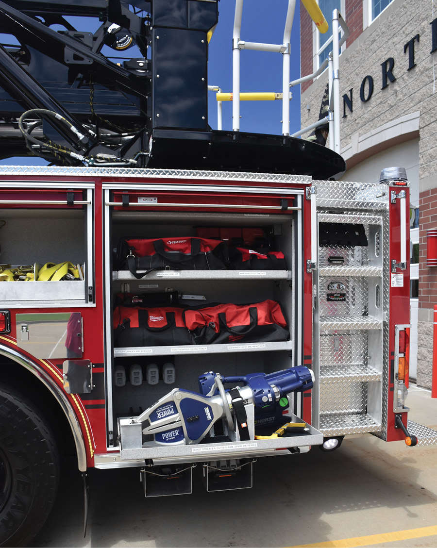 The new rig's battery-powered HURST extrication tools and hand tools.