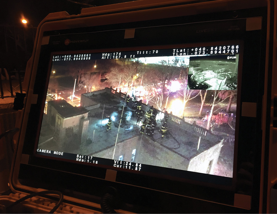 The incident commander's view on a command screen of roof operations provided by the FDNY's HoverFly drone.