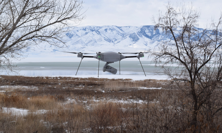 Lockheed Martin's Indago UAV is shown taking off on a search and rescue mission. (Photo courtesy of Lockheed Martin.)