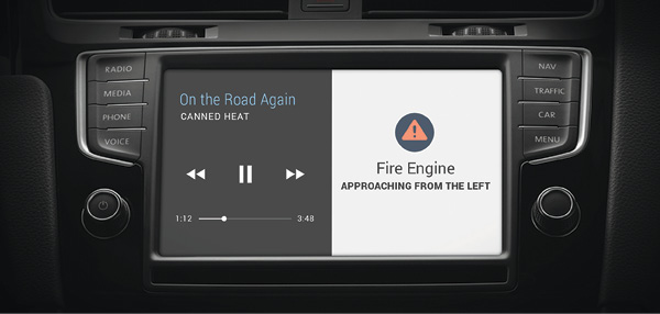 HAAS Alert is a system that can alert citizen drivers when emergency service vehicles are en route, running emergency lights and sirens. This dashboard shows a typical HAAS Alert screen. (Photo courtesy of HAAS Alert.)