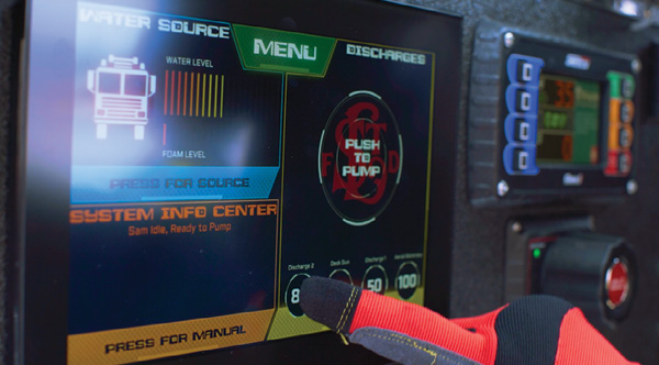 Phantom Controls is developing the Scene Apparatus Manager (SAM), a fully automated fire pump system operated by a touch screen on the vehicle or from a tablet. (Photo courtesy of Phantom Controls.)