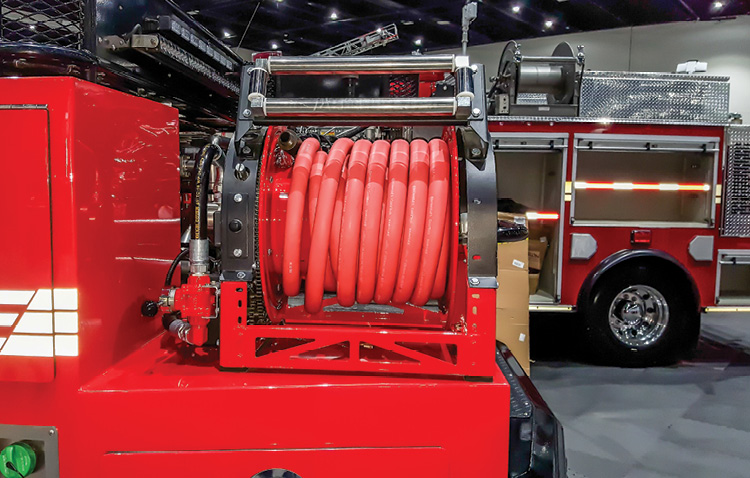 Cox Reels makes the 1600 Series reel, shown here mounted on a pumper and carrying one-inch booster hose. (Photos 8-11 courtesy of Cox Reels.)