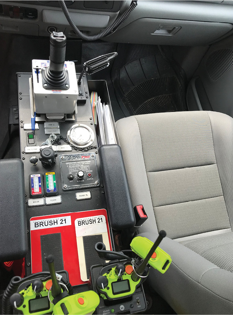 Each RAMP vehicle includes a bumper-mounted turret with a joystick inside the cab to control them.