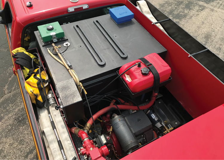 Each truck includes a 200-gallon water tank, a five-gallon foam cell, a 550-gpm pump, a hosebed capacity for 400 feet of 2½-inch hose, and a speedlay tray that can have a preconnected 200-foot 1¾-inch hoseline.