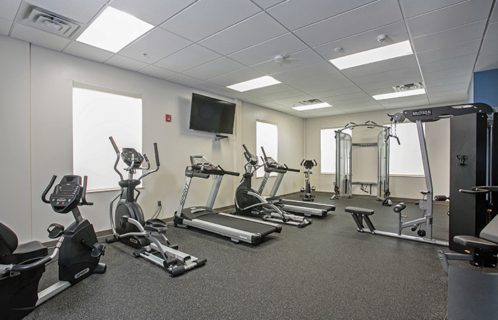 South River's exercise room is on the second floor of the station.