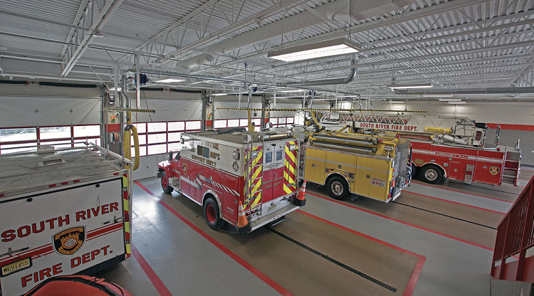 South River's apparatus bays currently house two engines, a ladder tower, a rescue truck, a trailer, and an inflatable boat.