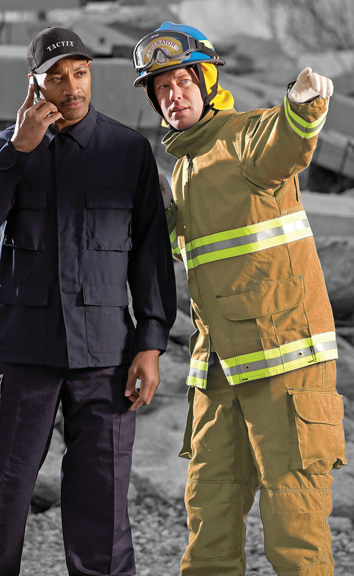 The TR51 rescue coat and pant made by Lion is a two-layer garment with several outer shell options and a CROSSTECH SR liner to provide liquid penetration resistance to water, blood, and bodily fluids.