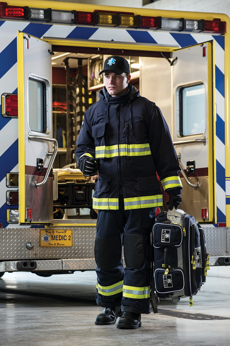 Lion makes MedPro PPE with a Westex DH fire-resistant outer shell and CROSSTECH EMS moisture barrier.