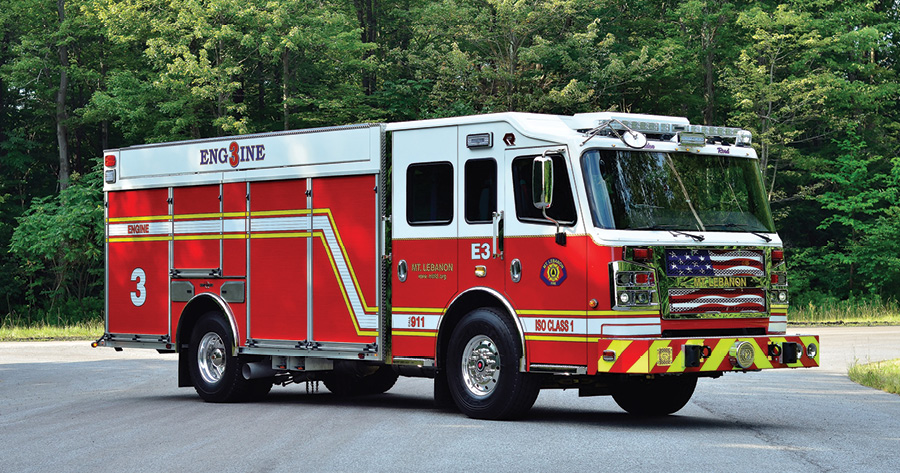 Rosenbauer built this rear-mount custom pumper for the Mount Lebanon (PA) Fire Department on a Commander chassis with a 60-inch-long, 100-inch-wide cab with 11-inch raised roof. (Photos 1-5 courtesy of Rosenbauer.)
