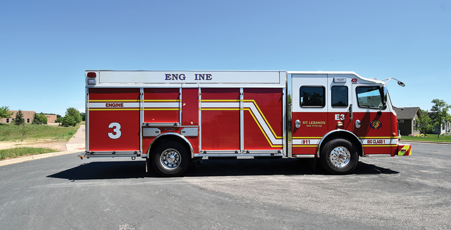 The pumper has all roll-up doors over compartments and carries a Harrison 10-kW hydraulic generator.