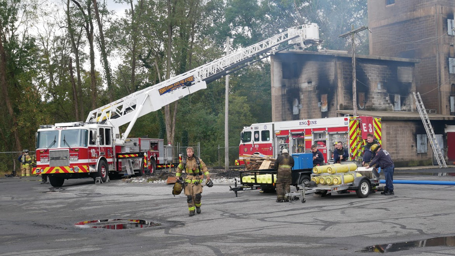 The new pumper operating at a joint training exercise. [Photos 6-8 courtesy of the Mt. Lebanon (PA) Fire Department.]