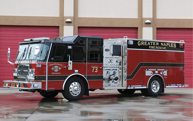 E-ONE-Greater Naples (FL) Fire Department rescue-pumper. Typhoon cab and chassis; Cummins L9 400-hp engine; Hale Qflo 1,250-gpm pump; UPF Poly 850-gallon tank; 20-gallon and 15-gallon foam cells; FoamPro 1600 dual-agent foam system; Severe Duty interior and front bumper; Safety Vision rear backup camera. Dealer: Steve Kern, Hall-Mark RTC, Ocala, FL.