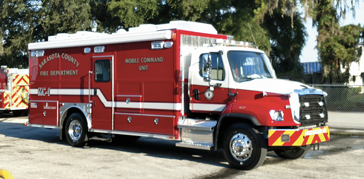E-ONE built this command truck for the Sarasota (FL) Fire Department on a Freightliner 114 D chassis with a 22-foot body. (Photos 1-5 courtesy of E-ONE.)