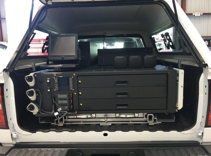 Virginia Beach (VA) Fire Rescue had E-ONE build a battalion command vehicle on a Ford F-550 four-door chassis with a slide-out tray at the rear holding all the command and control equipment.