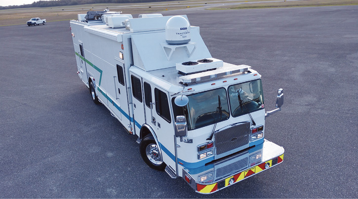 Aramco Saudi Arabia had E-ONE build this command truck on a custom chassis. Note the multiple access doors on the curb side.