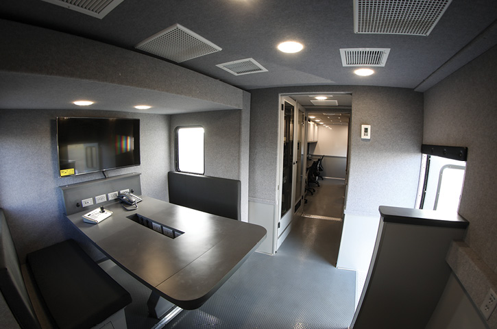 Part of the interior of the Aramco Saudi Arabia command truck built by E-ONE.