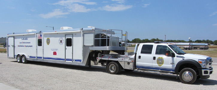 Unruh Fire built this 36-foot command trailer on a gooseneck that's pulled by a Ford F-550 for the Newton (KS) Police Department. (Photos 12-13 courtesy of Unruh Fire.)