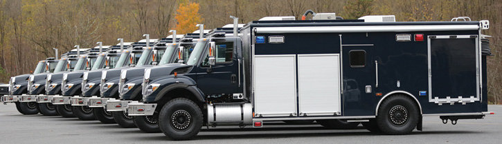 KME built eight command trucks for the U.S. Navy's Explosive Ordnance Disposal units on International 7400 commercial chassis with Super Single split-rim wheels and tires. (Photo 14 courtesy of KME.)