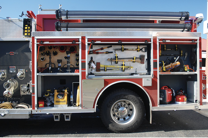 The driver sides of the engines have saws, normal engine company tools, fittings and extra nozzles, portable generators, forcible entry tools, and portable foam eductors.