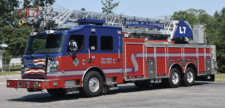 The Rosenbauer Viper 109-foot rear-mount ladder truck features high side compartments on both sides of vehicle.