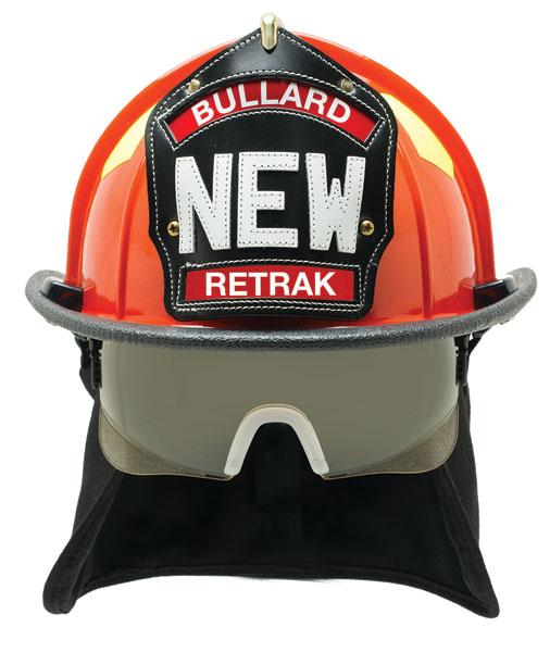 Bullard ReTrak fire helmet with integrated visor